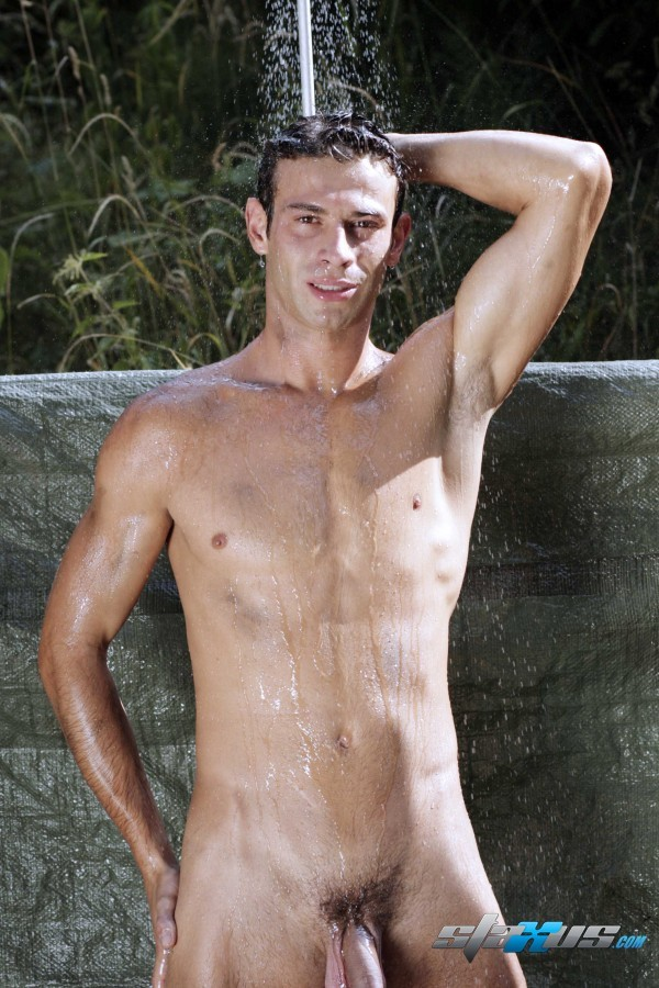 sexy gay porn model Kamil Fox showering nude